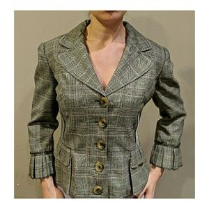 D&G Houndstooth Fitted Pleated Blazer 10 or 8
